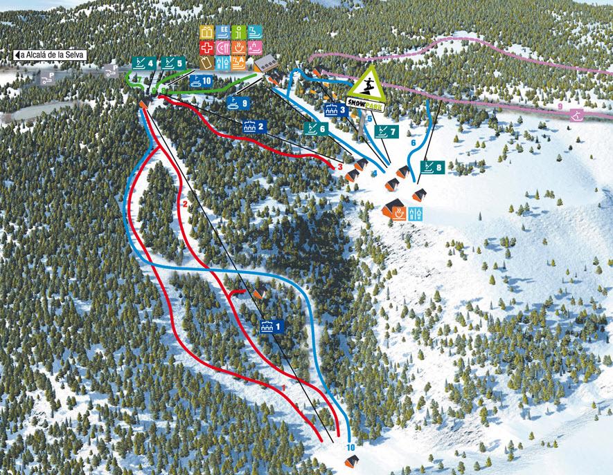 Mapa delas pistas Valdelinares