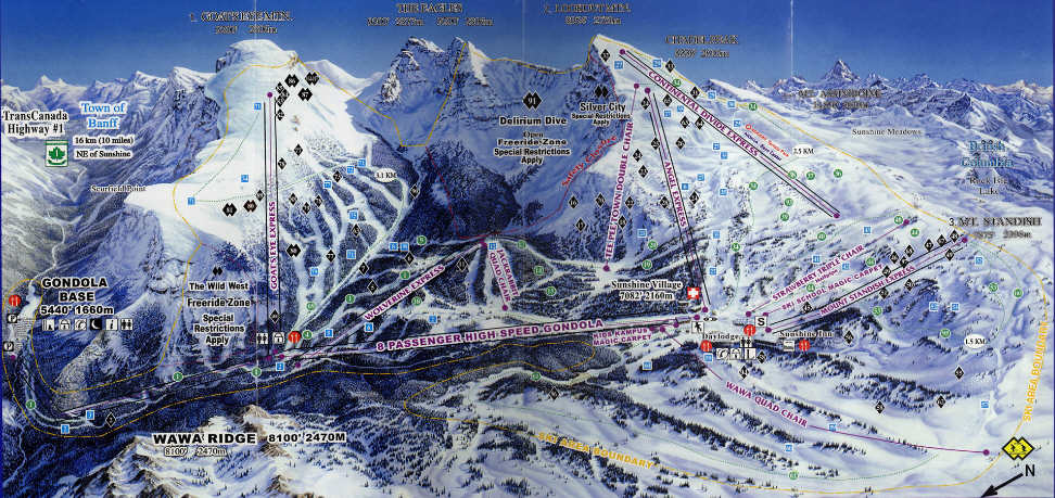 Plano de Sunshine Village