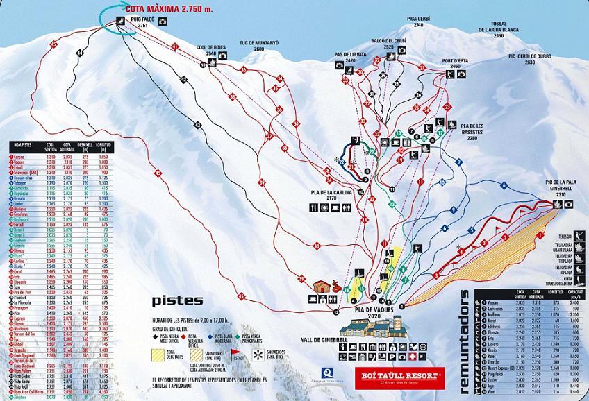 Mapa delas pistas Boí Taüll