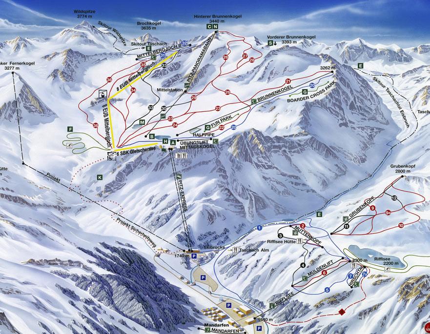 Plano de Pitztaler Gletscher - Rifflsee