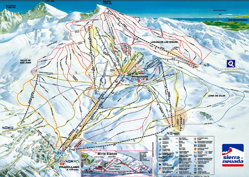 Mapa delas pistas Sierra Nevada