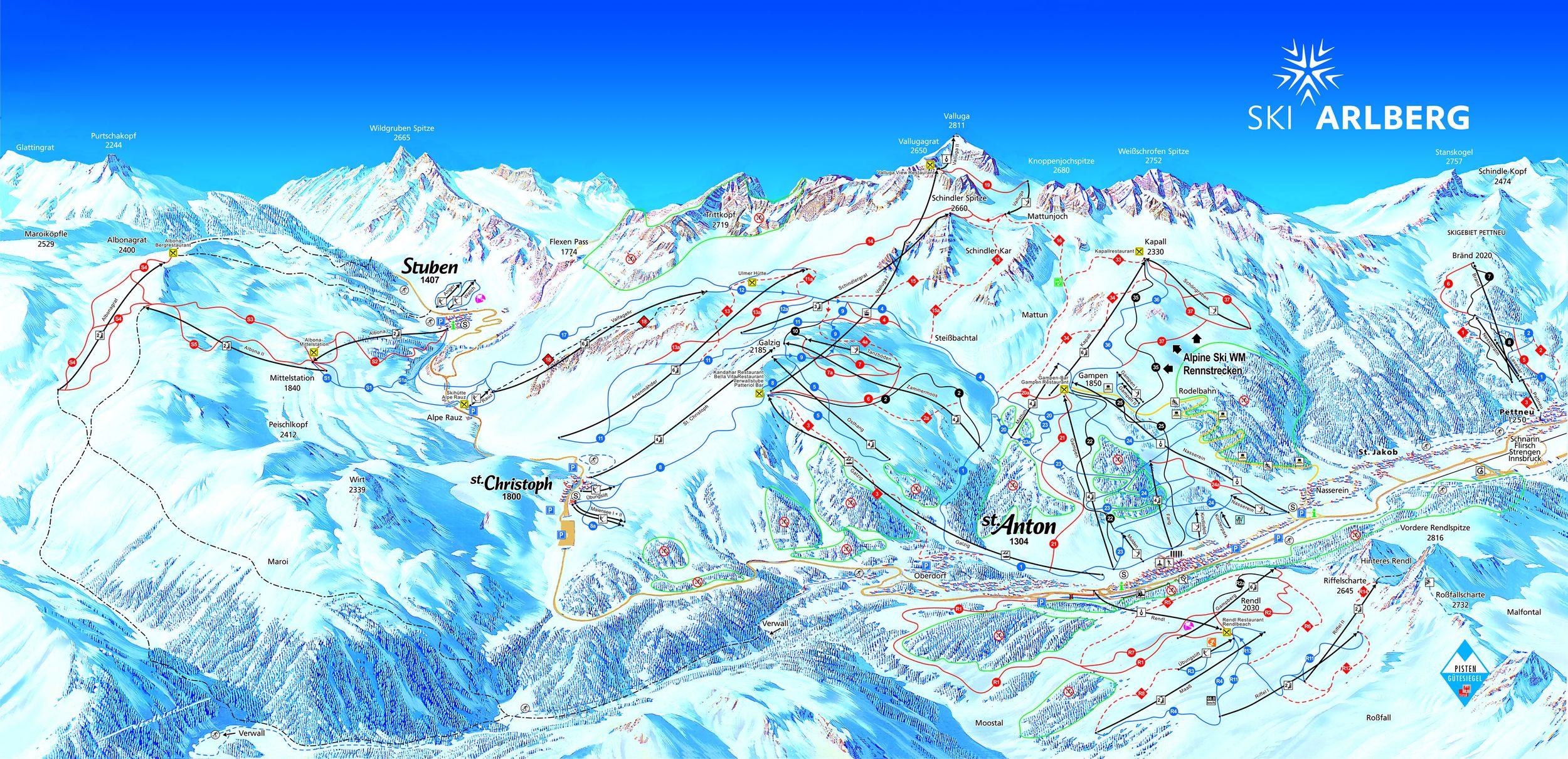 Plano de St. Anton am Arlberg