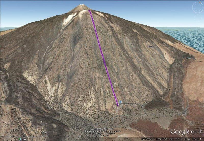 Vista Google Earth Teleférico del Teide