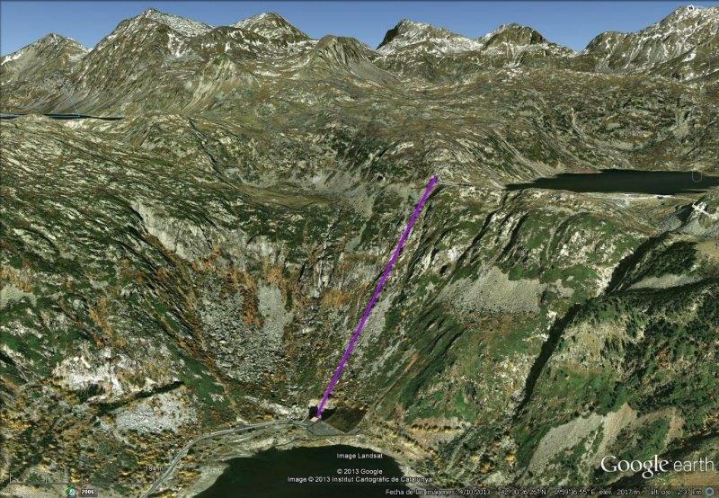 Vista Google Earth Teleférico de Sallente