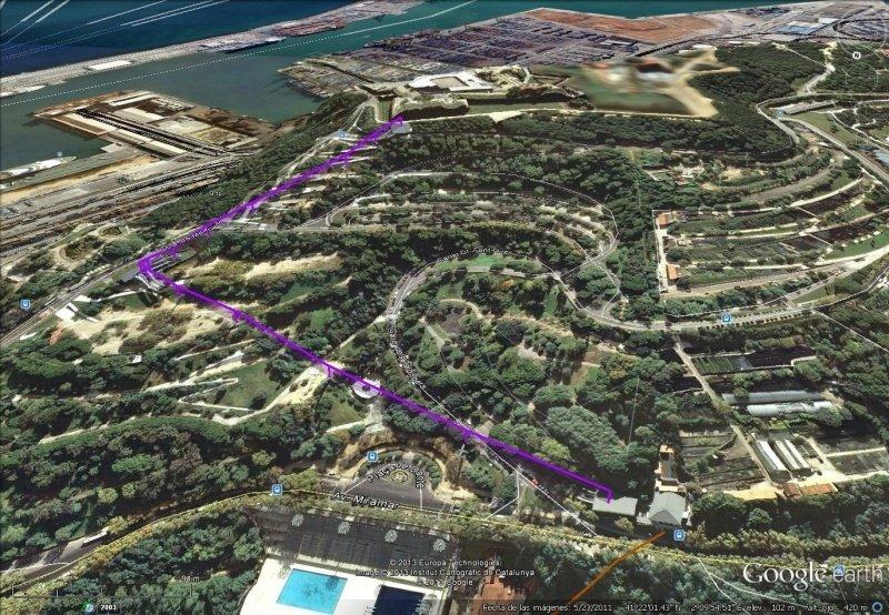 Vista Google Earth Telecabina Montjuïc