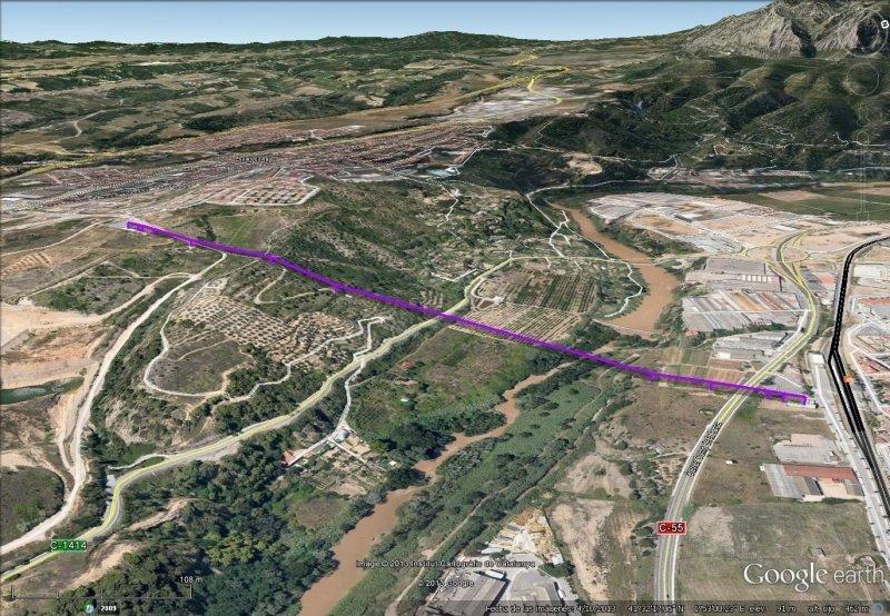 Vista Google Earth Telecabina Aeri Olesa-Esparraguera