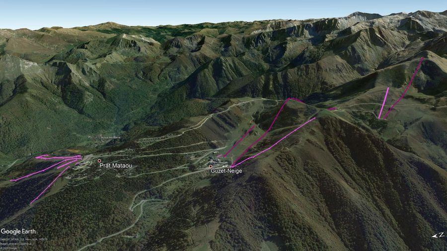 Vista Google Earth Pro Guzet Neige Temporada 2020/21
