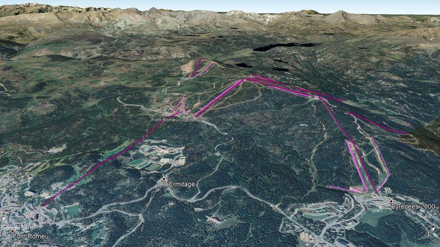 Vista Google Earth Pro Font Romeu - Pyrénées 2000 Temporada 2020/21