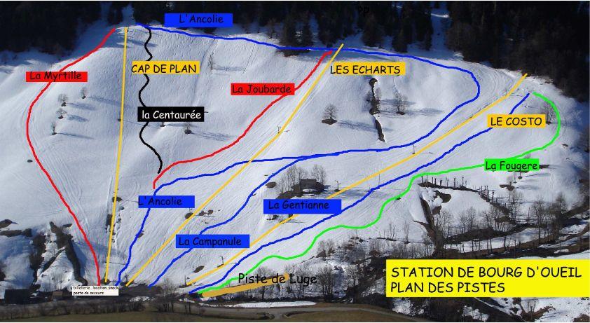 Plano de pistas de Bourg d'Oueil