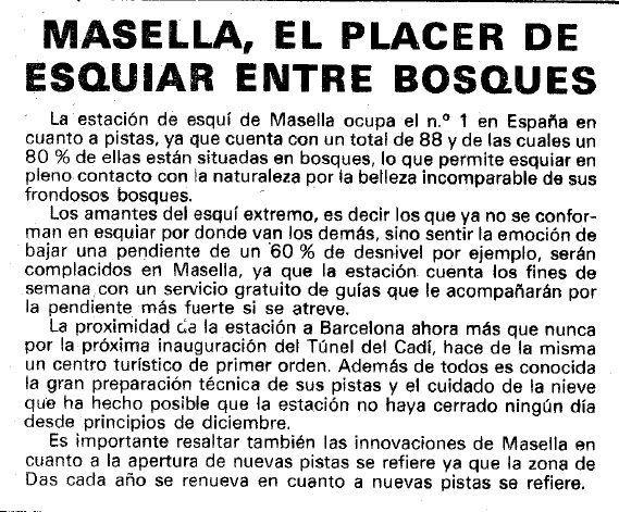 Recorte en un especial de las pistas de La Cerdanya aparecido en 1983