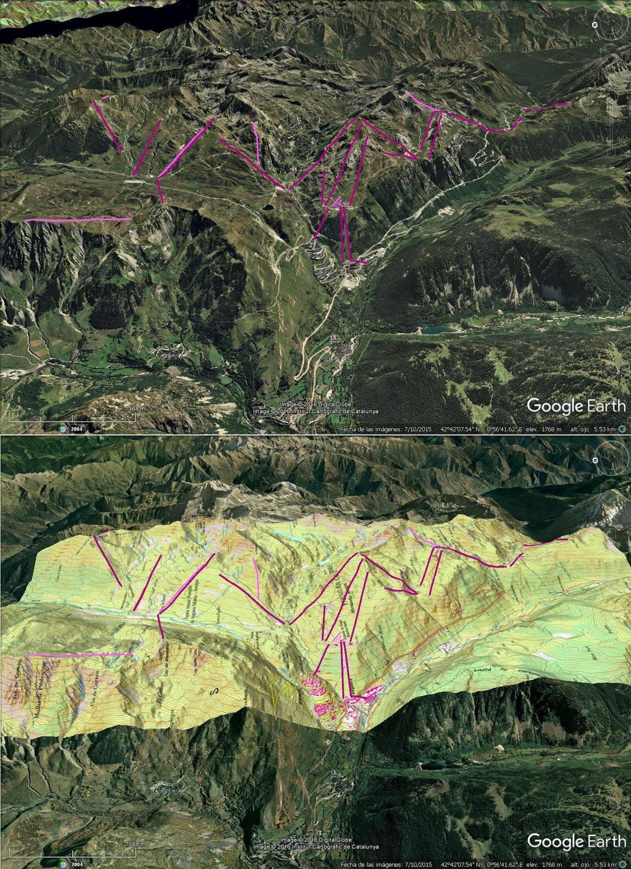 Vistas Google Earth Baqueira/Beret 2016-17