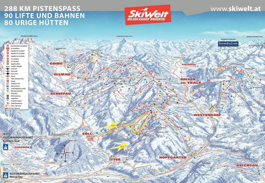 Plano de pistas de Skiwelt