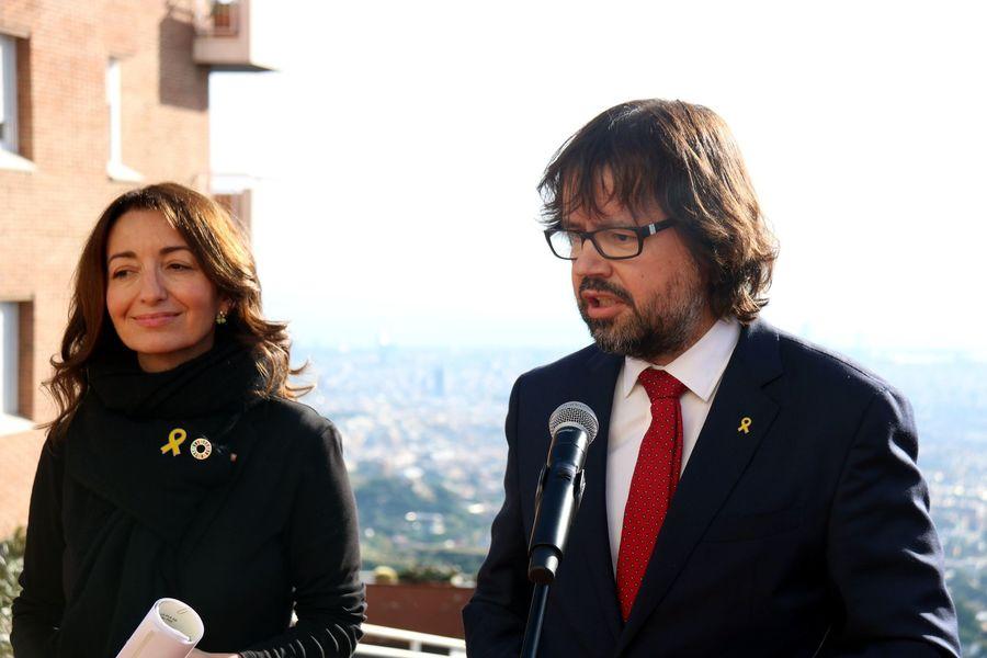 Marta Subira junto a Ricard Font, en una presentación en Vallvidrera (Barcelona)