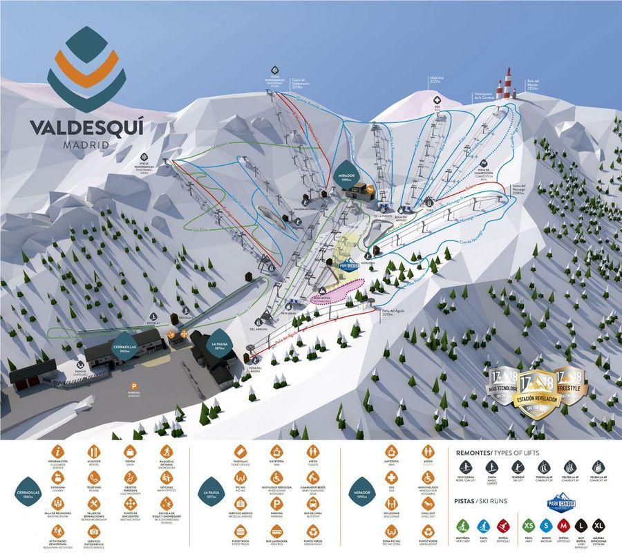Plano de pistas de Valdesquí