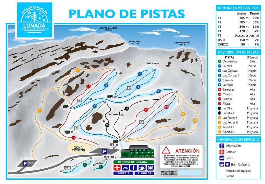 Plano de Pistas de esquí de Lunada