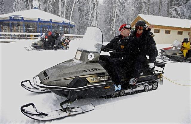 Putin y Dmitri Medvedev en Krasnaya Poliana
