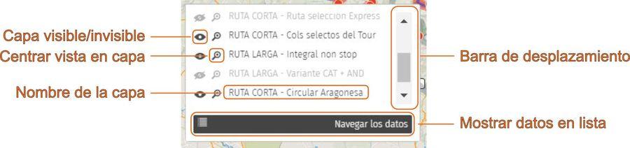 Indicaciones sobre el uso de capas en mapa de rutas de los puertos del Tour
