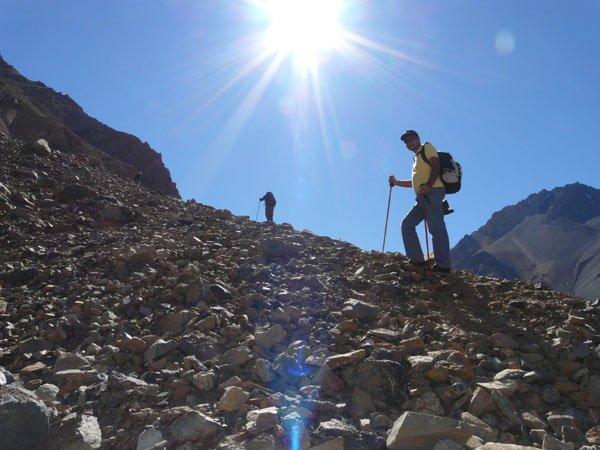 Subiendo hacia glaciar El Morado