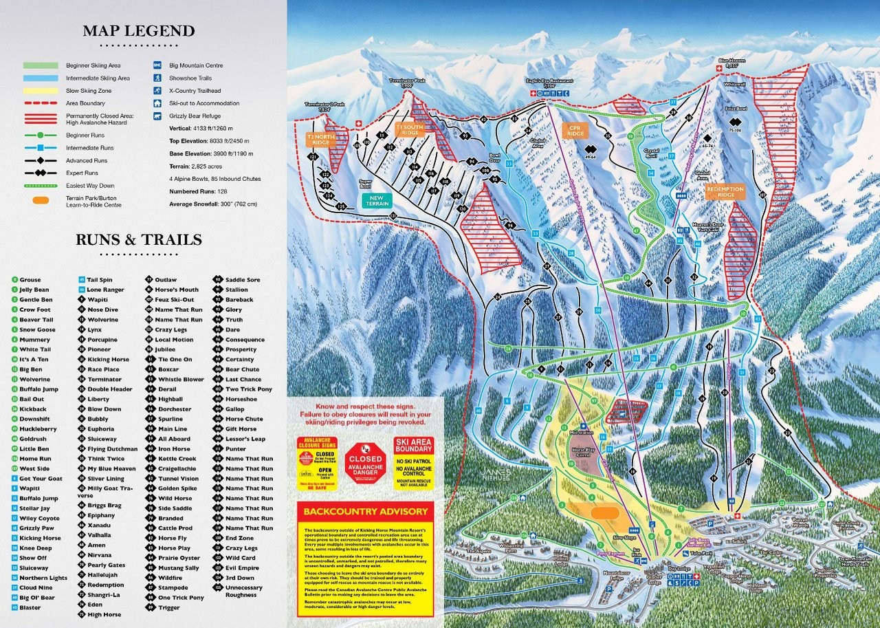 Mapa de pistas de Kicking Horse