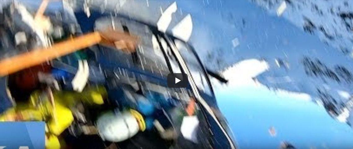 Encuentran el video de la colisión entre un helicóptero con esquiadores y una avioneta