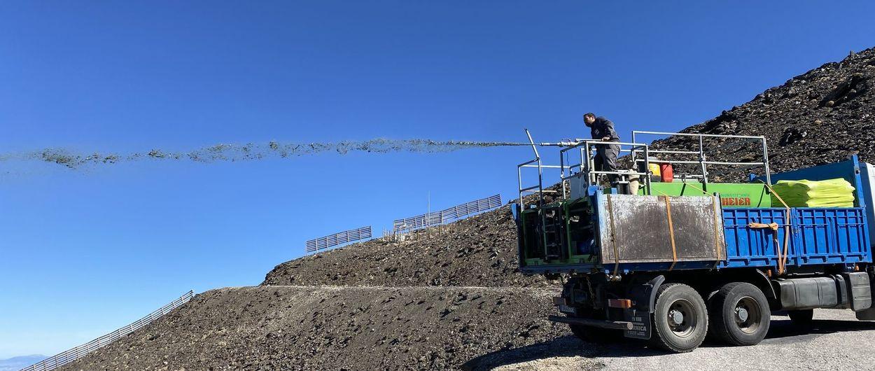 Sierra Nevada realiza trabajos de hidrosiembra en el area esquiable