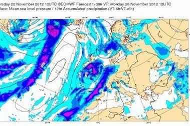 Prevision dias 23-25 de Noviembre. Huele a nieve