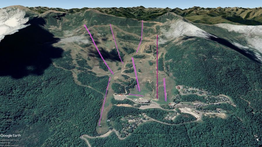 Vista Google Earth Monts d'Olmes 2019/20