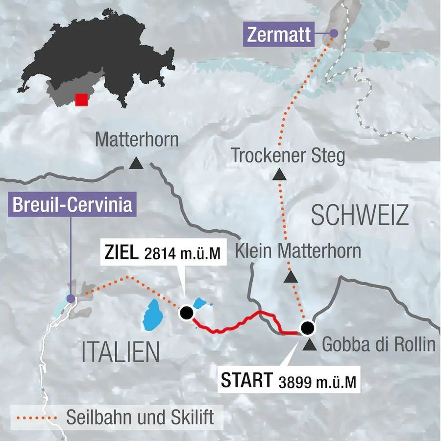 Trazado del Descenso de Copa del Mundo de Zermatt