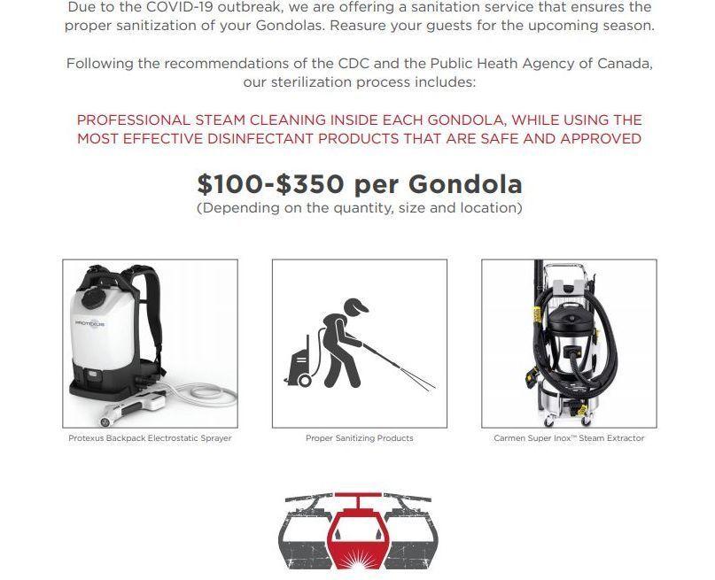 gondola desinfection
