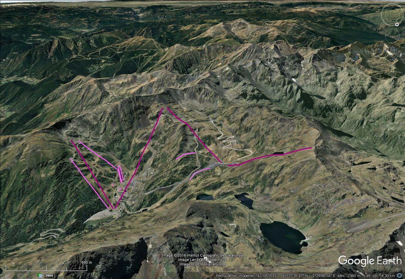 Vistas Google Earth Arcalís (Vallnord)   2016-17