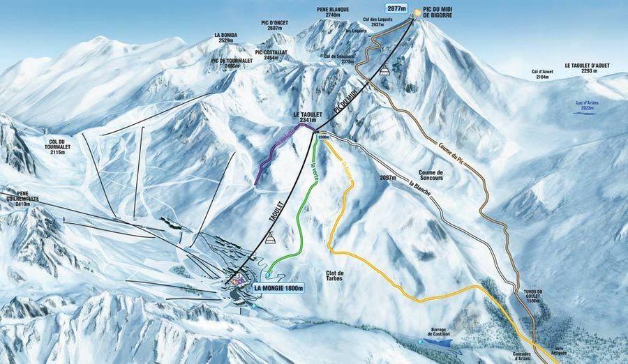 Plano de pistas del Pic du Midi