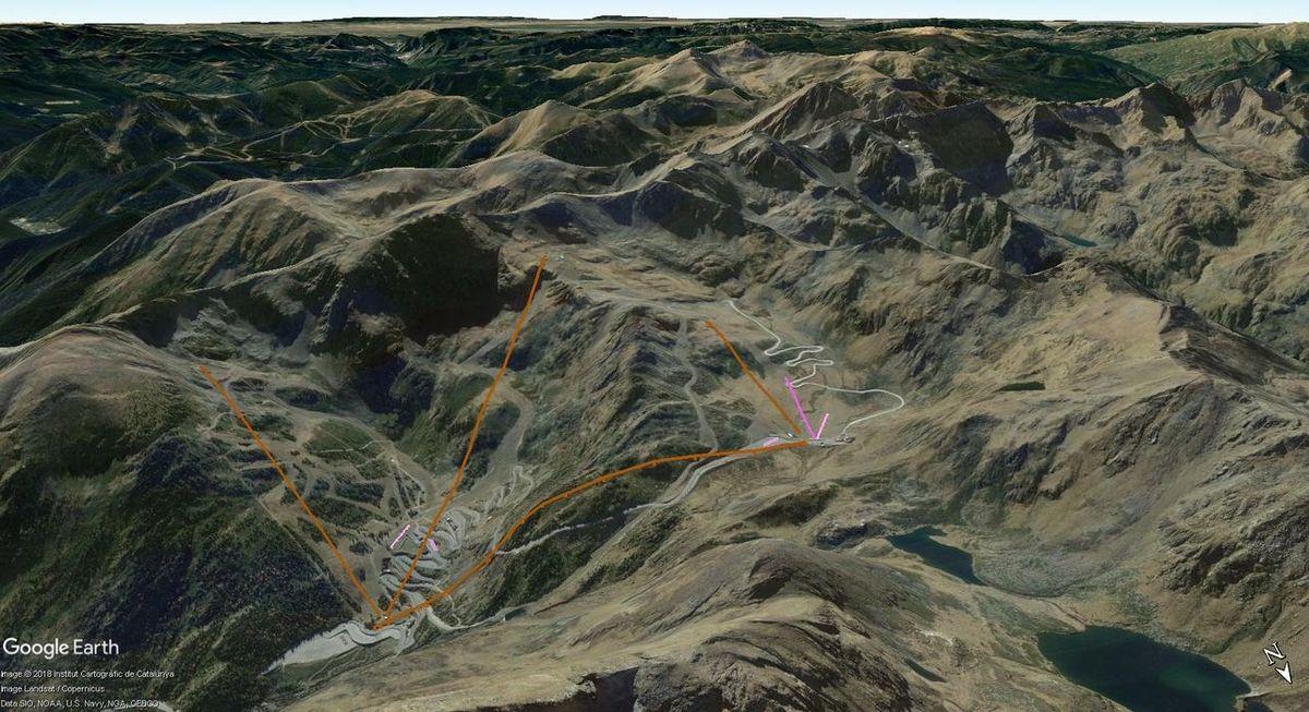 Vistas Google Earth Remontes previstos Plan Director Arcalís 02/2017