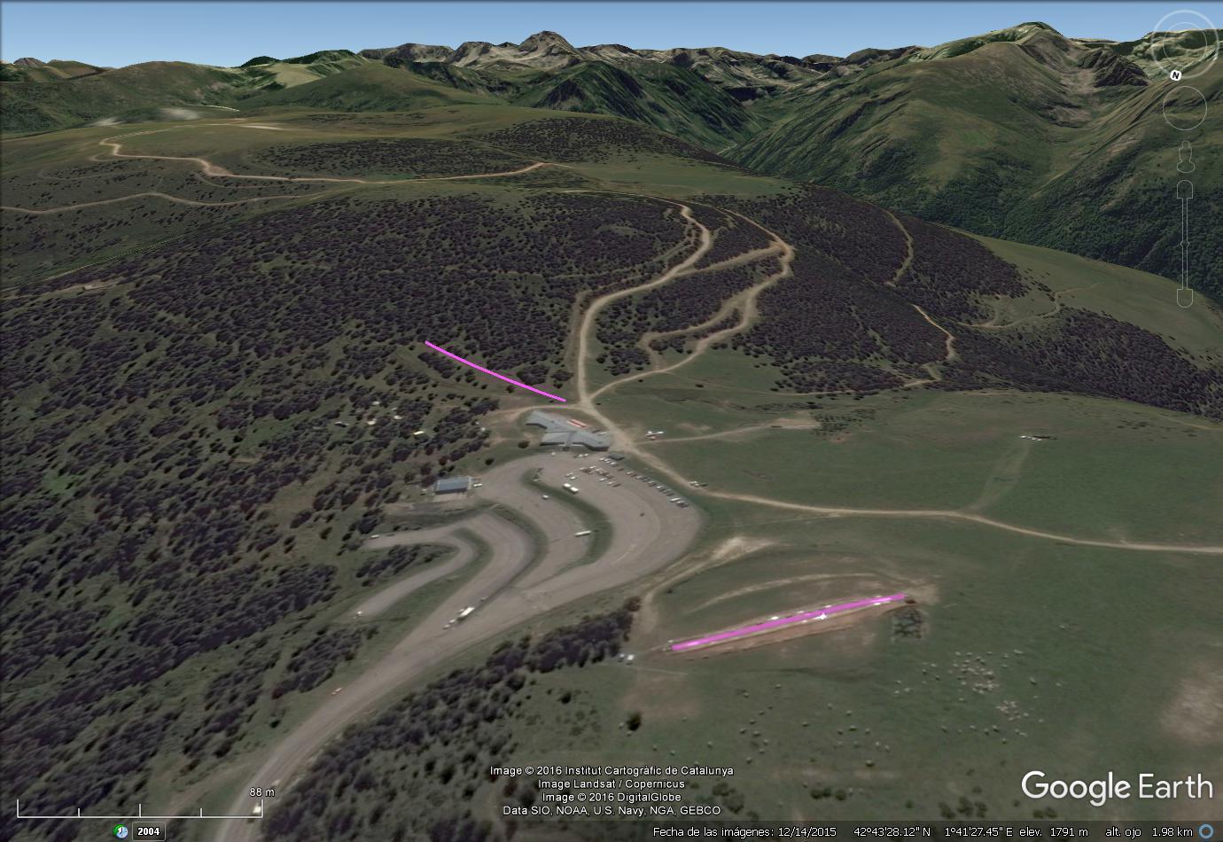 Vistas Google Earth Plateau de Beille  2016-17