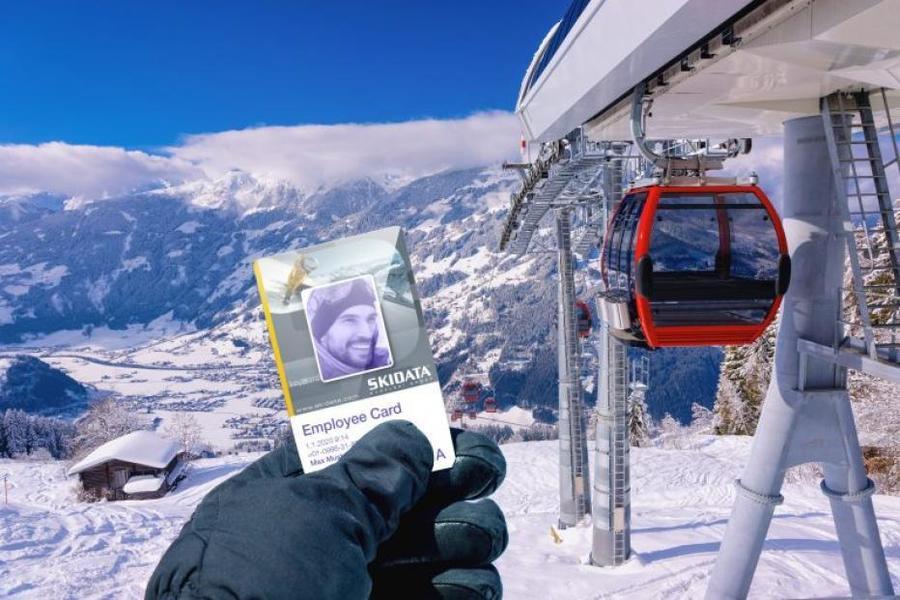 Skidata employed card, tarjeta empleado estacion esqui