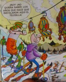Mortadelo y Filemón esquiando