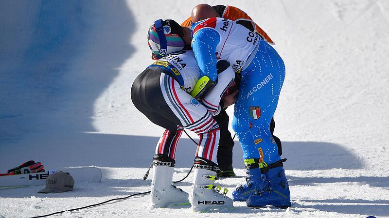 Mathieu Faivre y Luca De Aliprandini no podían creer su suerte y se abrazaron al final.