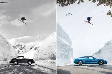 Porsche recrea la icónica imagen del salto de esquí 60 años después pero con un Taycan