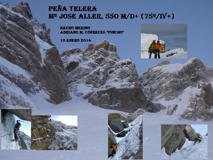 "Peña Telera, Corredor ""María José Aller"", 550m. D+ (75º/ IV+)"