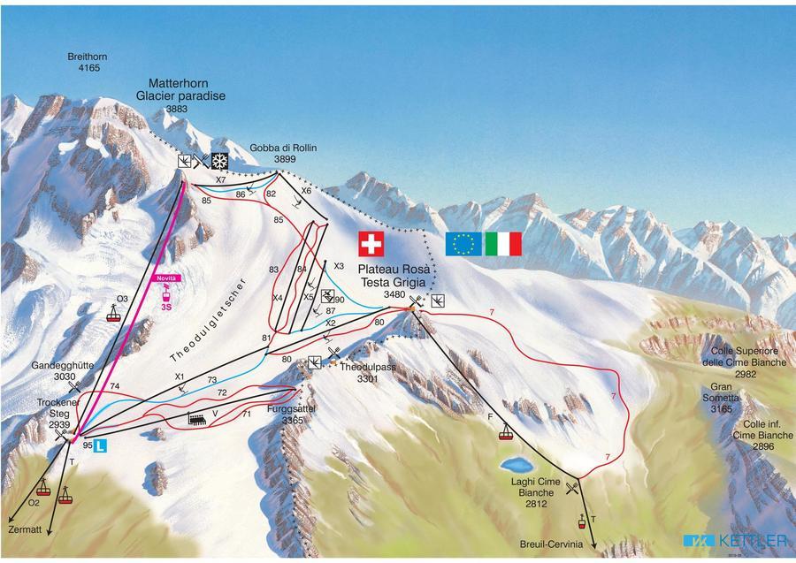 Plano pistas del Plateau Rosa Cervinia Zermatt