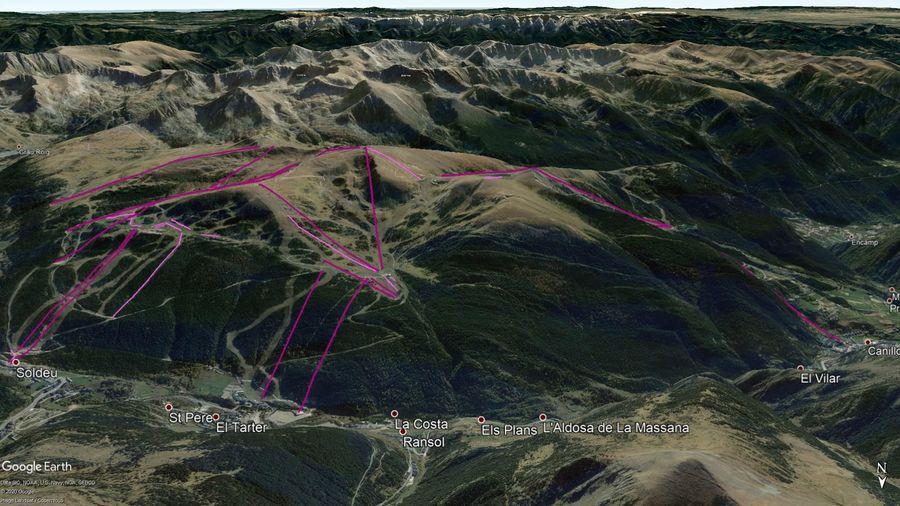 Vista Google Earth Soldeu El Tarter Canillo Temporada 2020/21