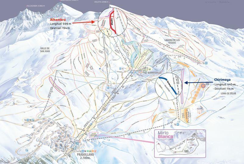 Plano de pistas de Sierra Nevada