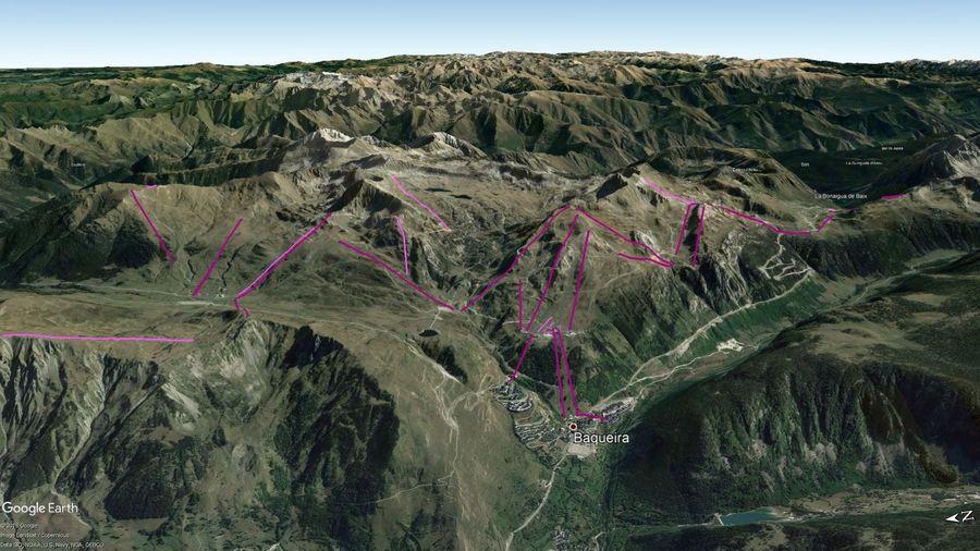 Vista Google Earth Baqueira Beret 2019/20