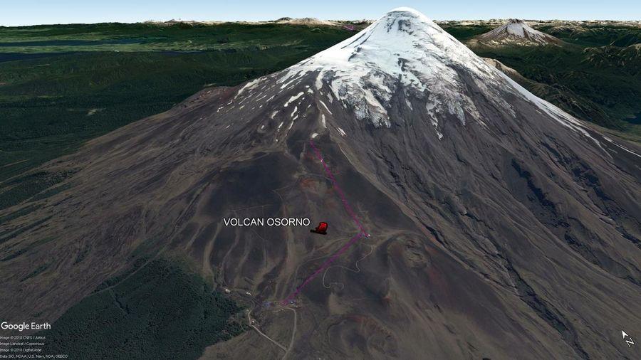 Vista Google Earth Volcán Osorno  2018