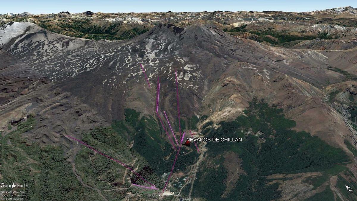 Vista Google Earth Nevados de Chilllán 2018