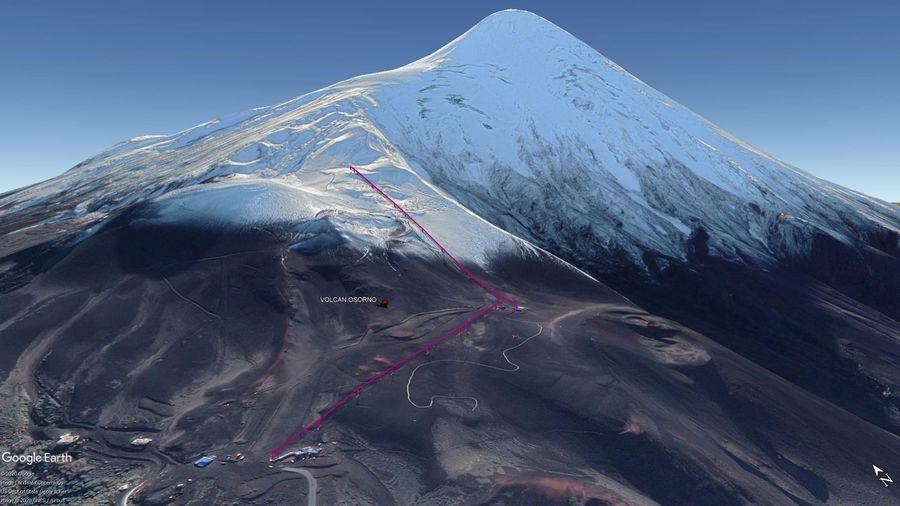 Vista Google Earth Volcán Osorno 2020