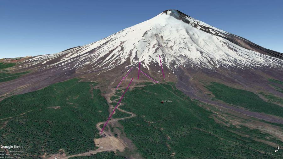 Vista Google Earth Ski Pucón 2020