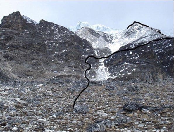 Fotografía del monte con un marcado de la ruta