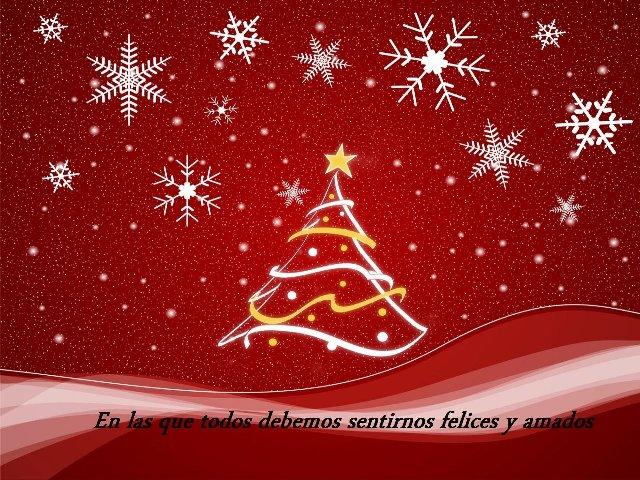 Fotografía de un dibujo con un arbol de navidad con el escrito, en las que todos debemos sentirnos queridos y amados