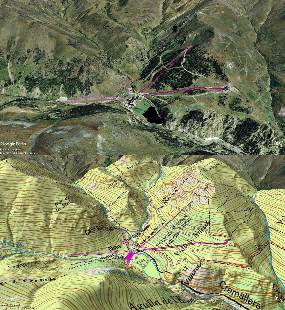 Vistas Google Earth Val de Nuria 2017-18