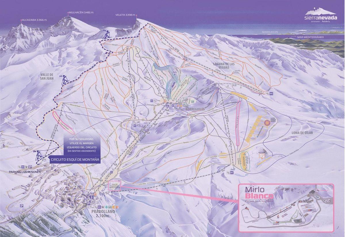 Plano esqui montaña sierra nevada